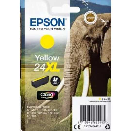 "EPSON ink bar Singlepack ""Slon"" Yellow 24XL Claria Photo HD Ink"