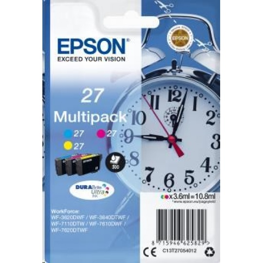 "EPSON ink Multipack 3-colour ""Budík"" 27 DURABrite Ultra Ink"